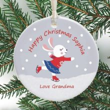 Cute Personalised Christmas Ornament - Skating Bunny Design - Personalized Ceramic Christmas Tree Bauble - Holiday Decoration